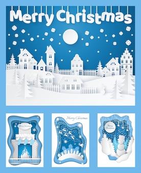 Frohe weihnachten paper cut silhouettes karten set