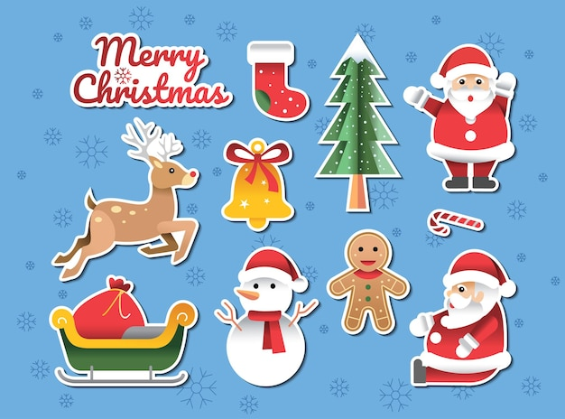 Frohe weihnachten papercraft design doodle