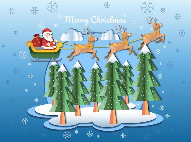 Frohe weihnachten papercraft design-vektor