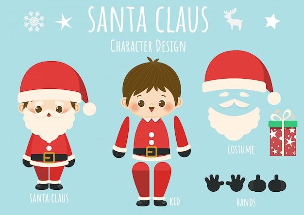 Frohe weihnachten, papierpuppe weihnachtsmann mit zubehör.