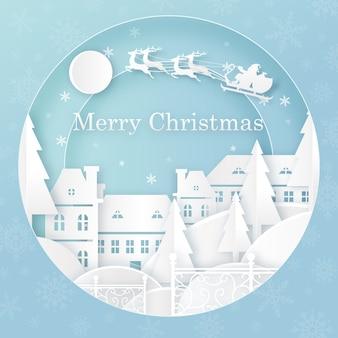 Frohe weihnachten papierschnitt illustration