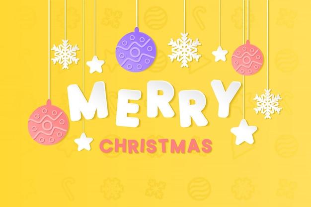 Frohe weihnachten papierschnitt-stil auf gelbem hintergrund