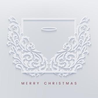 Frohe weihnachten papierschnittkarte mit engelsflügeln