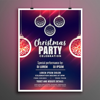 Frohe weihnachten party flyer design poster