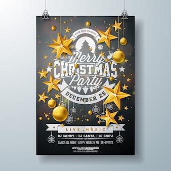 Frohe weihnachten party flyer design