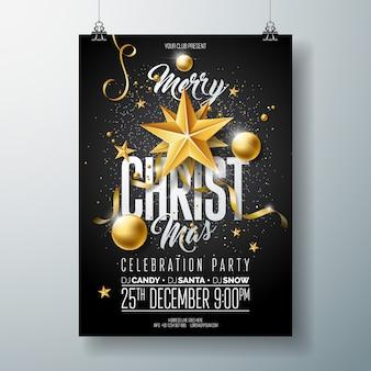 Frohe weihnachten party flyer illustration mit urlaub typografie