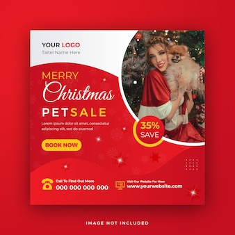 Frohe weihnachten pet sale social media post web banner template design