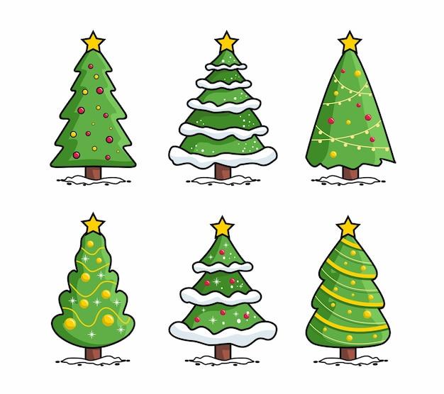 Frohe weihnachten pine tree cartoon collection set