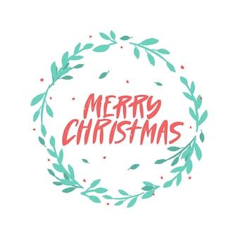 Frohe weihnachten pinsel schriftzug im blumenkranz.