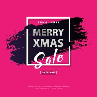 Frohe weihnachten plakat 2018 mit silbernem text auf grunge-pinselstrich