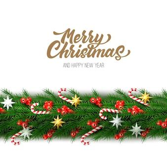 Frohe weihnachten plakat mit fichtenrand mit realistischen zuckerrohr süßigkeiten