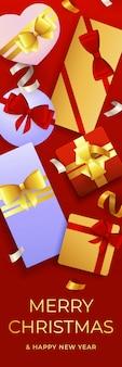 Frohe weihnachten-plakat mit geschenkboxen