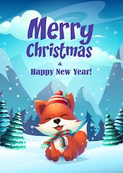 Frohe weihnachten plakat mit glücklichem fuchs