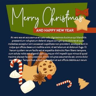 Frohe weihnachten-plakat mit textprobe und symbolen