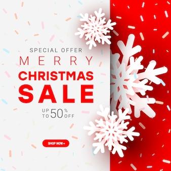 Frohe weihnachten-plakat. rotes weißes weihnachtspapier schnitt schneeball mit text auf rot. .