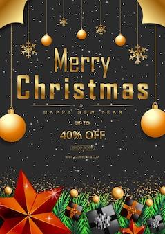 Frohe weihnachten poster angebot promotion mit goldenen sternen und realistischen weihnachtselementen vektor
