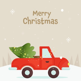 Frohe weihnachten poster design mit weihnachtsbaum auf jeep und beige schnee hintergrund.