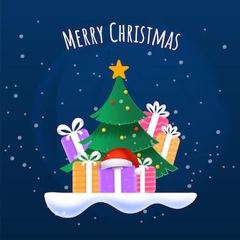 Frohe weihnachten poster design mit weihnachtsbaum, bunten geschenkboxen und santa cap auf blauem schnee fallenden hintergrund.