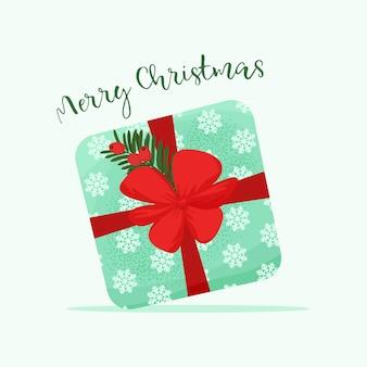 Frohe weihnachten-poster mit geschenkbox nette vektor-illustration im flachen stil