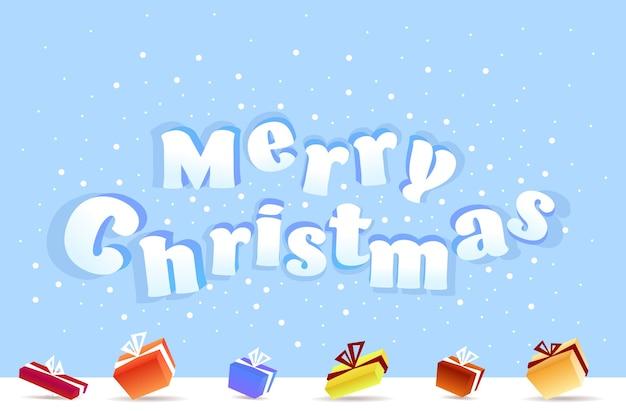 Frohe weihnachten poster verpackt geschenk geschenkboxen winterurlaub feier konzept grußkarte horizontale vektor-illustration