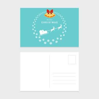 Frohe weihnachten postkarte design-vorlage mit winter landschaft flaches design