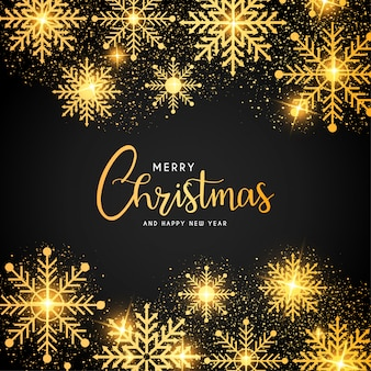 Frohe weihnachten-rahmen mit goldenen schneeflocken