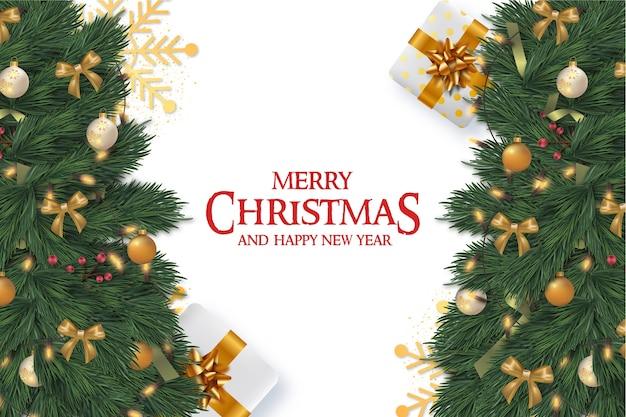 Frohe weihnachten rahmenkarte mit realistischen weihnachtselementen