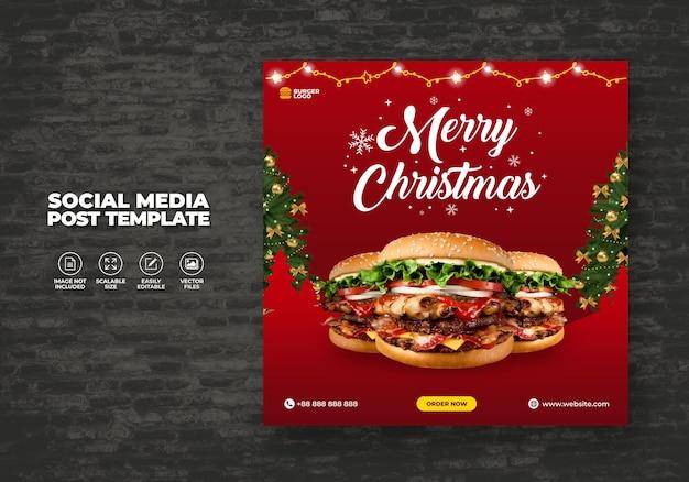 Frohe weihnachten restaurant promotion lebensmittel menü social media post banner vorlage