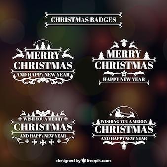 Frohe weihnachten retro logos pack