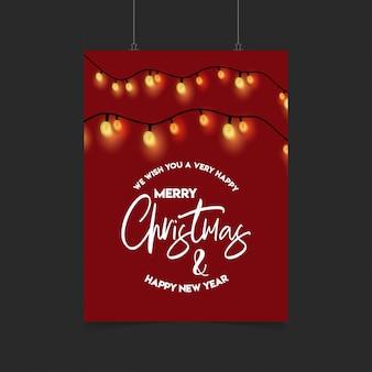 Frohe weihnachten rote dekoration ligh poster vorlage
