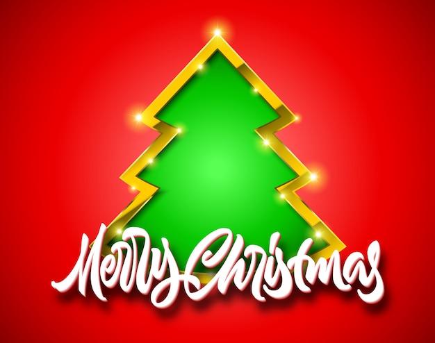 Frohe weihnachten rote karte mit handgezeichneter kalligraphischer beschriftung und grünem tannenbaumzeichen mit goldenem rand, schatten und funkeln