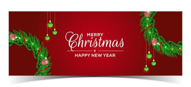 Frohe weihnachten rotes banner-design mit kranz