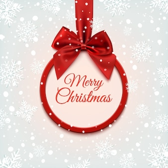 Frohe weihnachten rundes banner mit rotem band und schleife