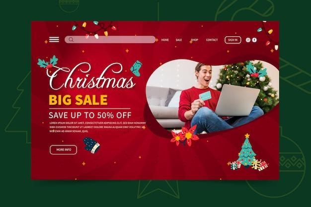 Frohe weihnachten sales landing page web-vorlage
