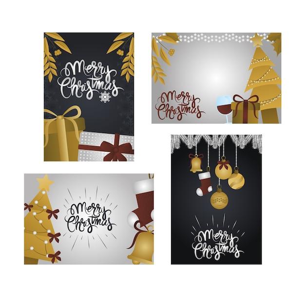Frohe weihnachten, sammelkarten mit goldenem geschenk, baum, kugeln und sternen