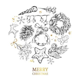 Frohe weihnachten sammlung mit handgezeichneten vintage illustrationen.