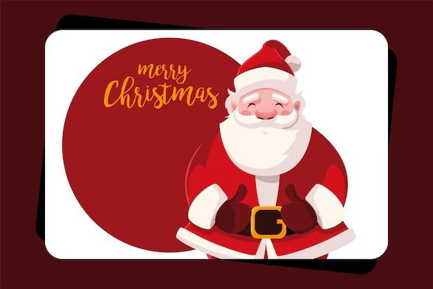 Frohe weihnachten santa auf karte, wintersaison und dekorationsthema