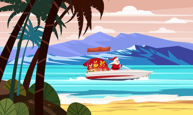 Frohe weihnachten santa claus auf schnellboot auf ozeanseetropfeninselpalmen-gebirgsküste