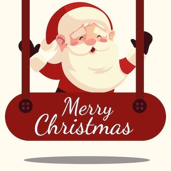 Frohe weihnachten santa claus in hängender schriftzugdekoration illustration