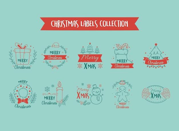 Frohe weihnachten, satzikonen beschriftet dekorationsgrußentwurf, grüne illustration