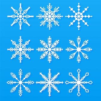 Frohe weihnachten schneeflocken set elemente