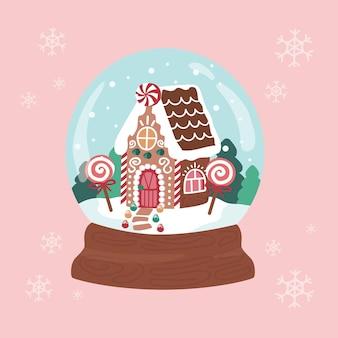 Frohe weihnachten schneekugel lebkuchenhaus süßigkeiten und desserts baumsüßigkeiten