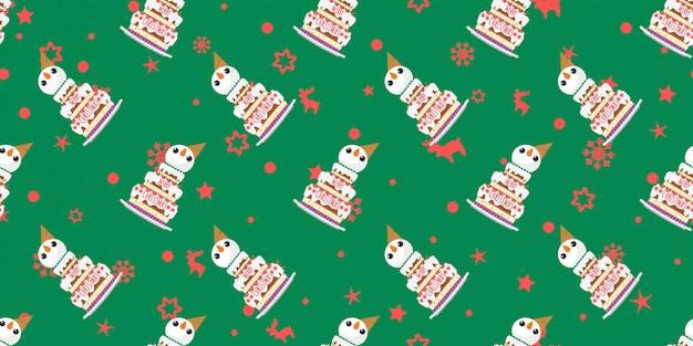 Frohe weihnachten, schneemann backt nahtloses muster zusammen.