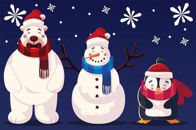 Frohe weihnachten schneemann bär und pinguin mit hut und schal schneeflocken illustration