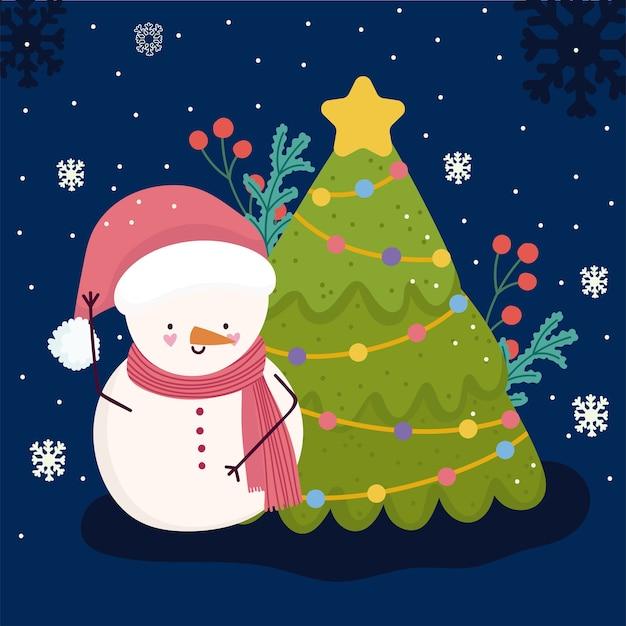 Frohe weihnachten schneemann mit baum feier dekoration