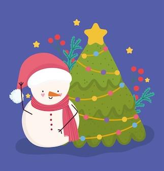 Frohe weihnachten, schneemann mit baum und stechpalmenbeerenkarte für grußvektorillustration