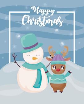 Frohe weihnachten schneemann mit rentier auf winterlandschaft