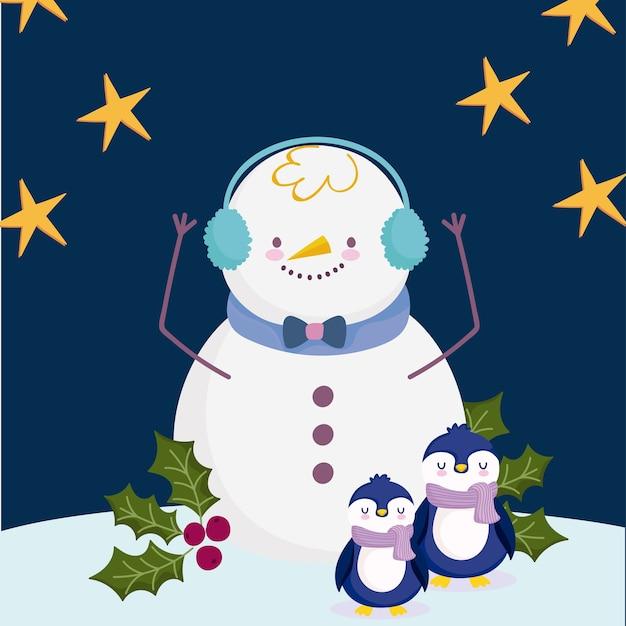 Frohe weihnachten, schneemannpinguine im schnee mit sternenillustration