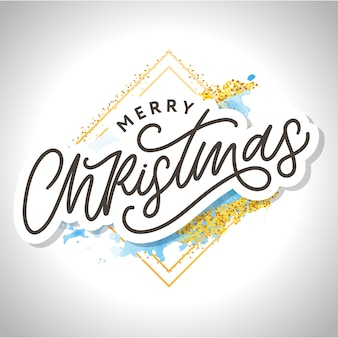 Frohe weihnachten schönes grußkartenplakat mit schwarzem textwort der kalligraphie. handgezeichnete gestaltungselemente. handgeschriebenes weißes hintergrundrahmen-aquarell der modernen pinselbeschriftung