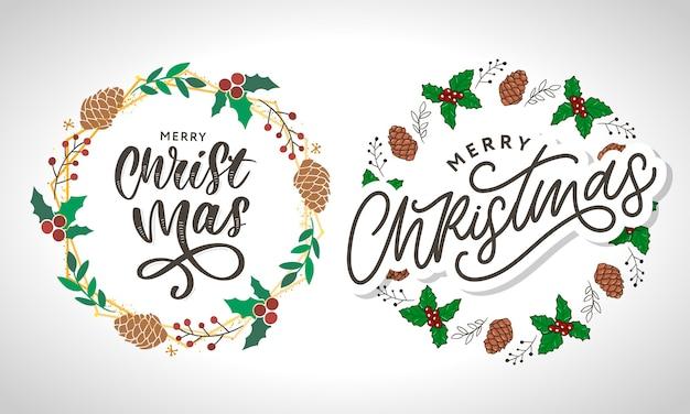 Frohe weihnachten schönes grußkartenplakat mit schwarzem textwort der kalligraphie.